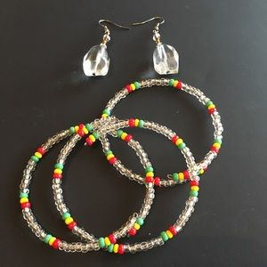 Jewelry - Reggae Jamaican Rasta Bangle Bracelets & Earrings